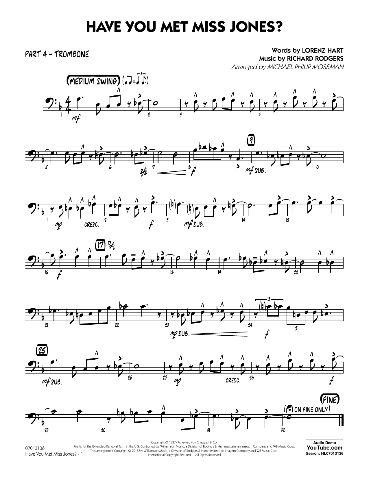 Rodgers & Hart Have You Met Miss Jones? (arr. Michael Mossman) - Part 4 - Trombone sheet music notes and chords. Download Printable PDF.