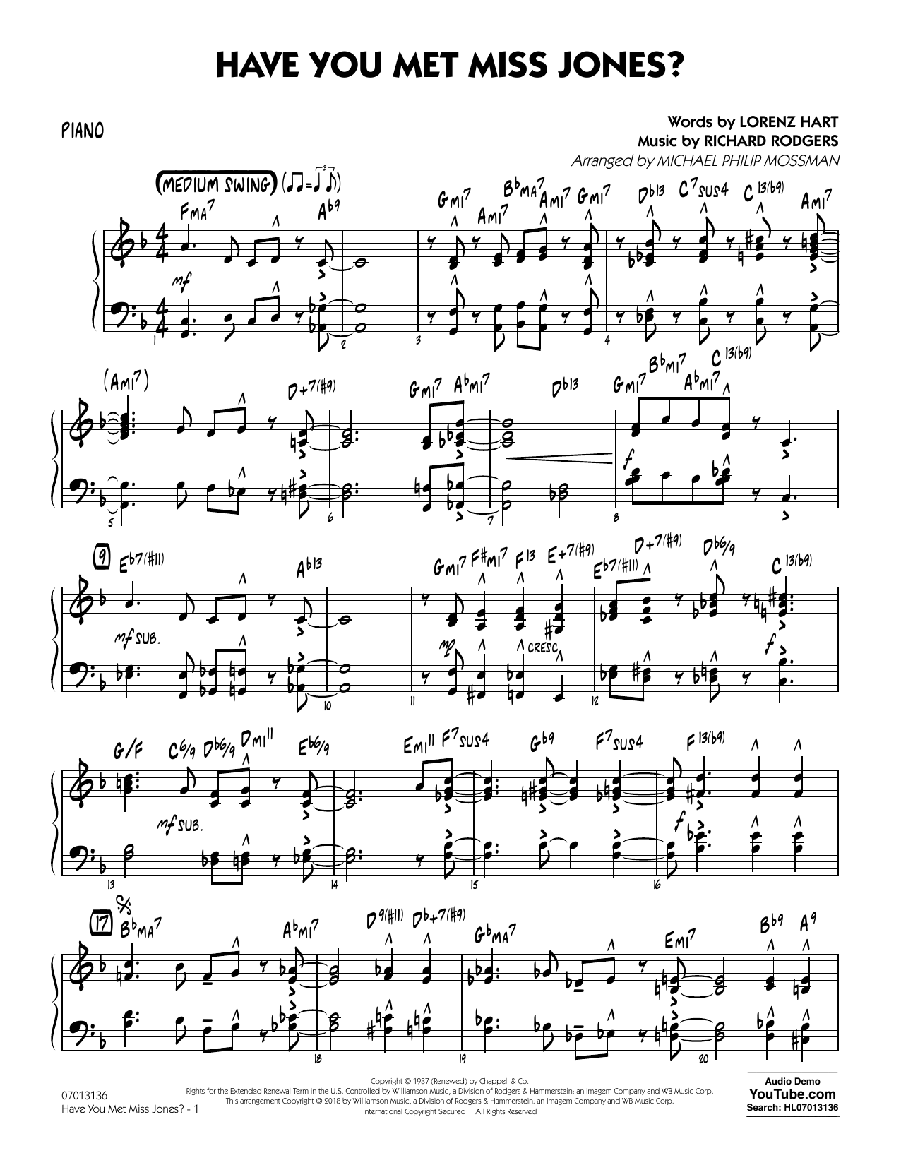 Rodgers & Hart Have You Met Miss Jones? (arr. Michael Mossman) - Piano sheet music notes and chords. Download Printable PDF.