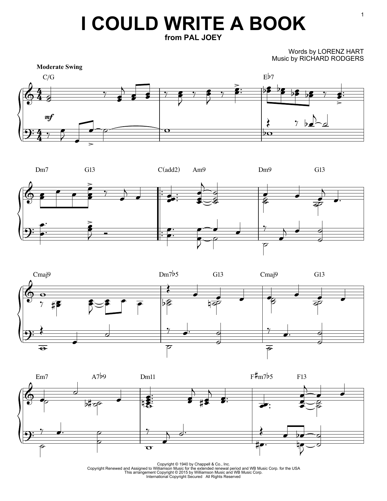 Richard Rodgers I Could Write A Book [Jazz version] (arr. Brent Edstrom) sheet music notes and chords. Download Printable PDF.