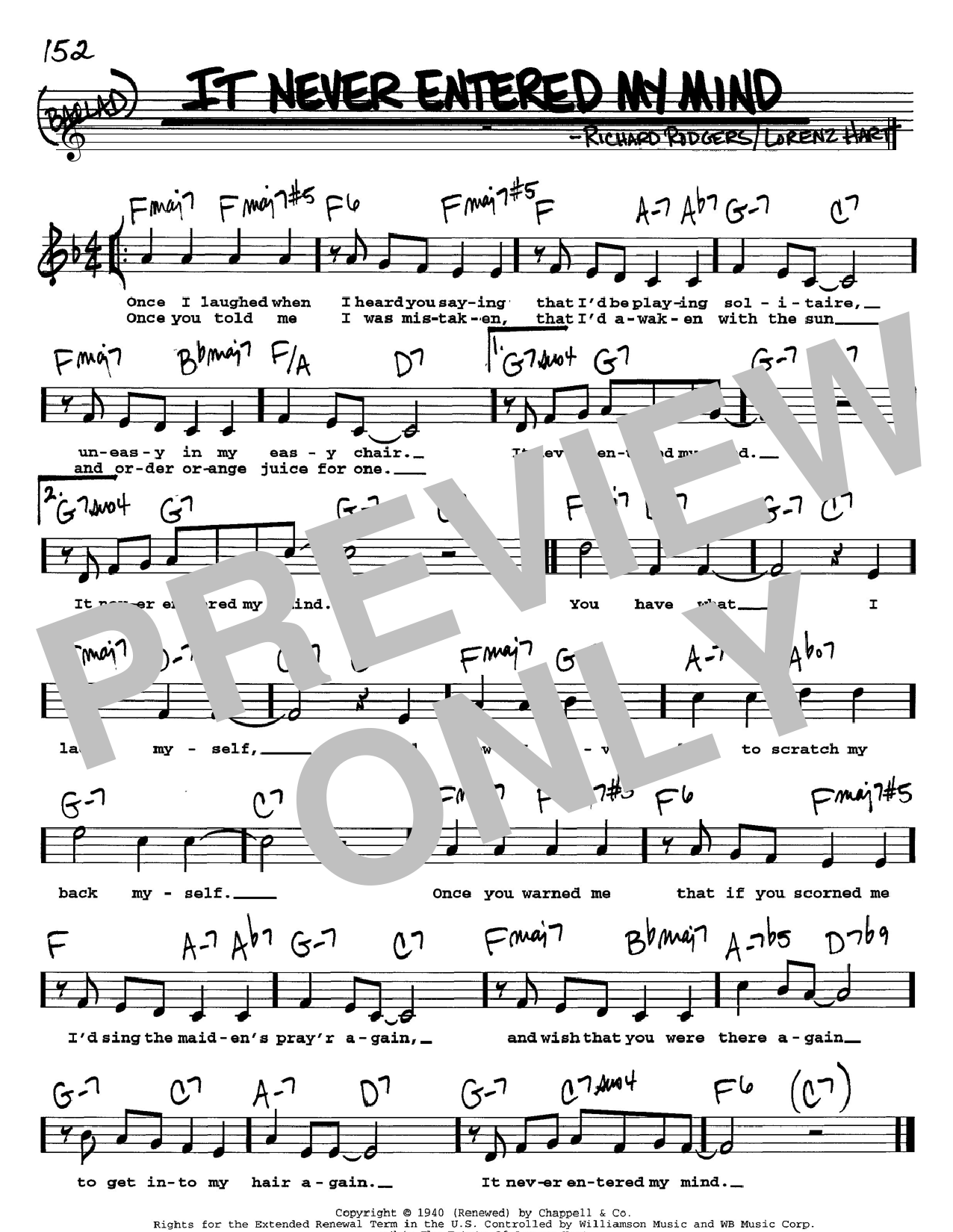 Rodgers & Hart It Never Entered My Mind sheet music notes and chords. Download Printable PDF.