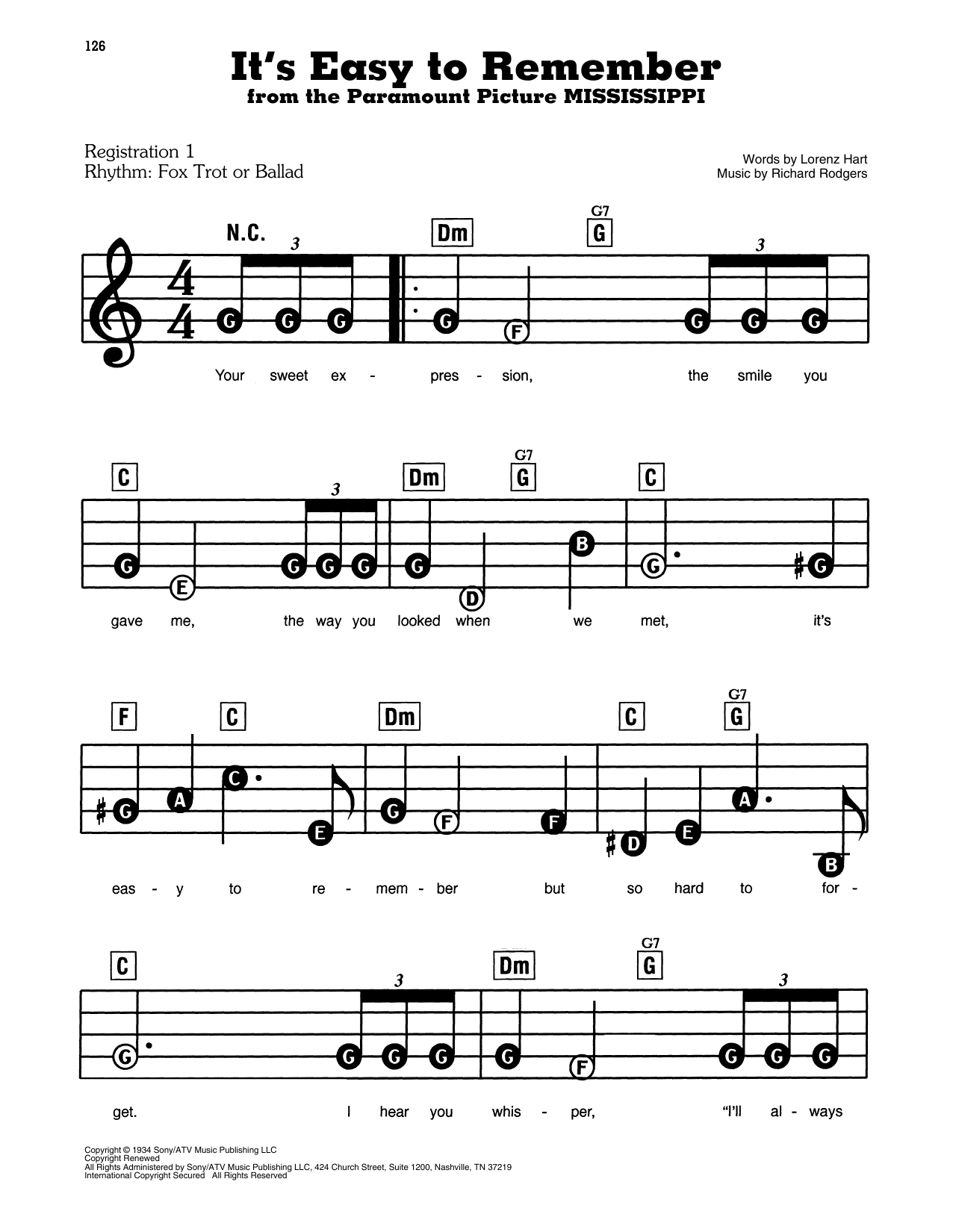 Rodgers & Hart It's Easy To Remember (from Mississippi) sheet music notes and chords. Download Printable PDF.