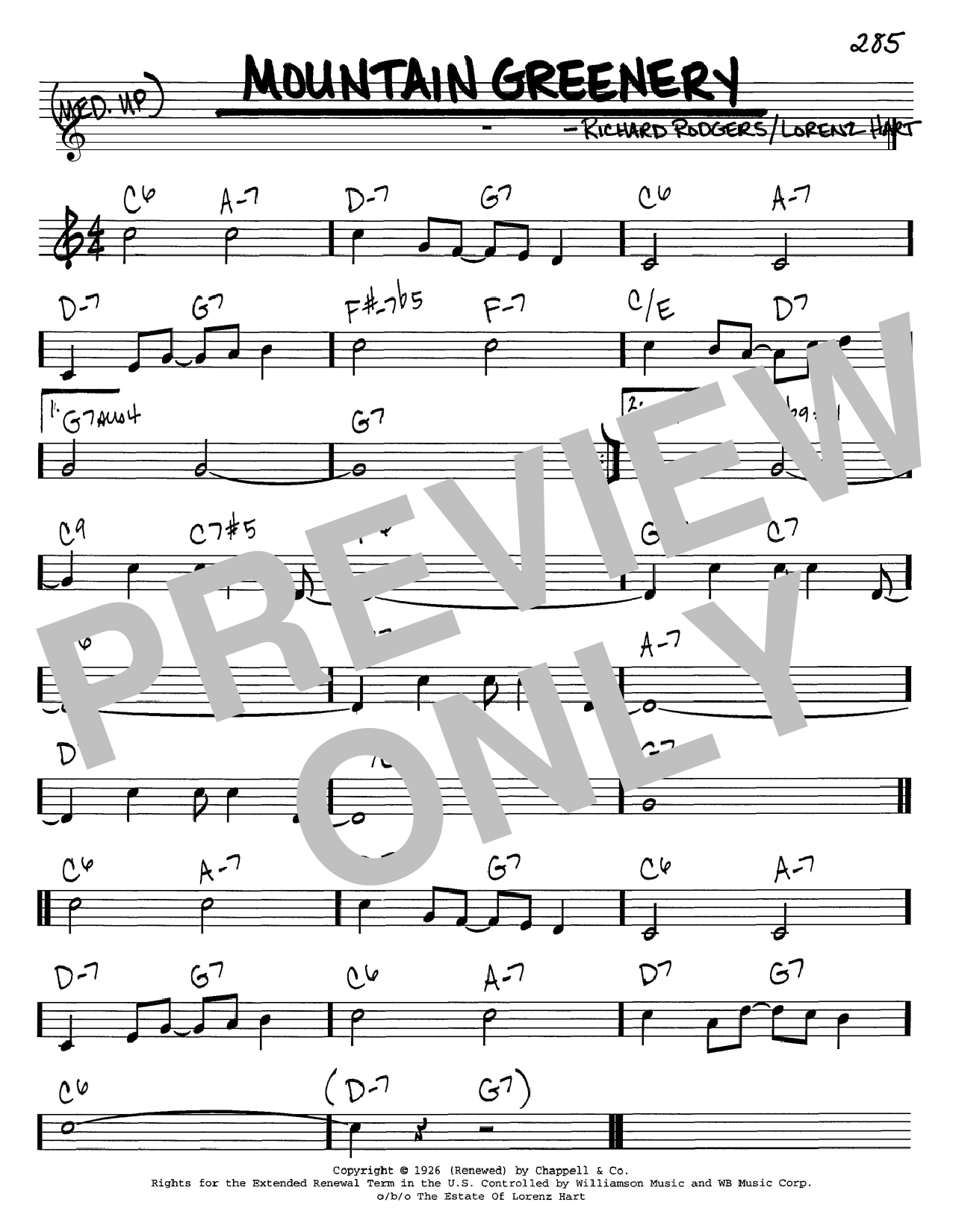 Rodgers & Hart Mountain Greenery sheet music notes and chords. Download Printable PDF.