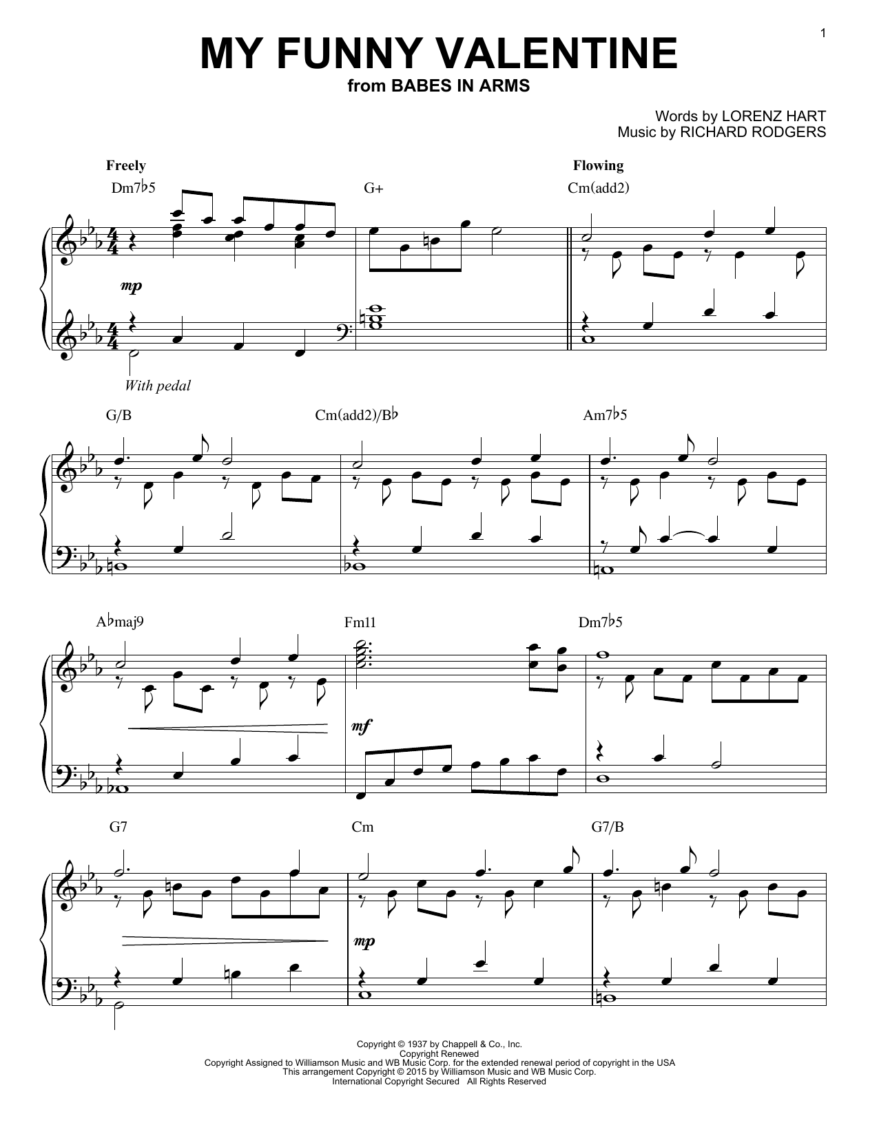 Rodgers & Hart My Funny Valentine [Jazz version] (arr. Brent Edstrom) sheet music notes and chords. Download Printable PDF.