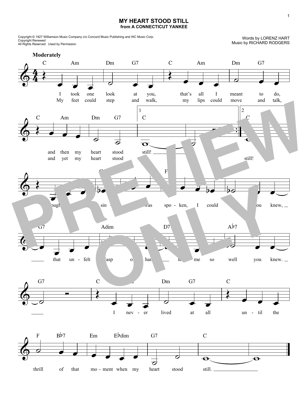 Rodgers & Hart My Heart Stood Still (from A Connecticut Yankee) sheet music notes and chords. Download Printable PDF.