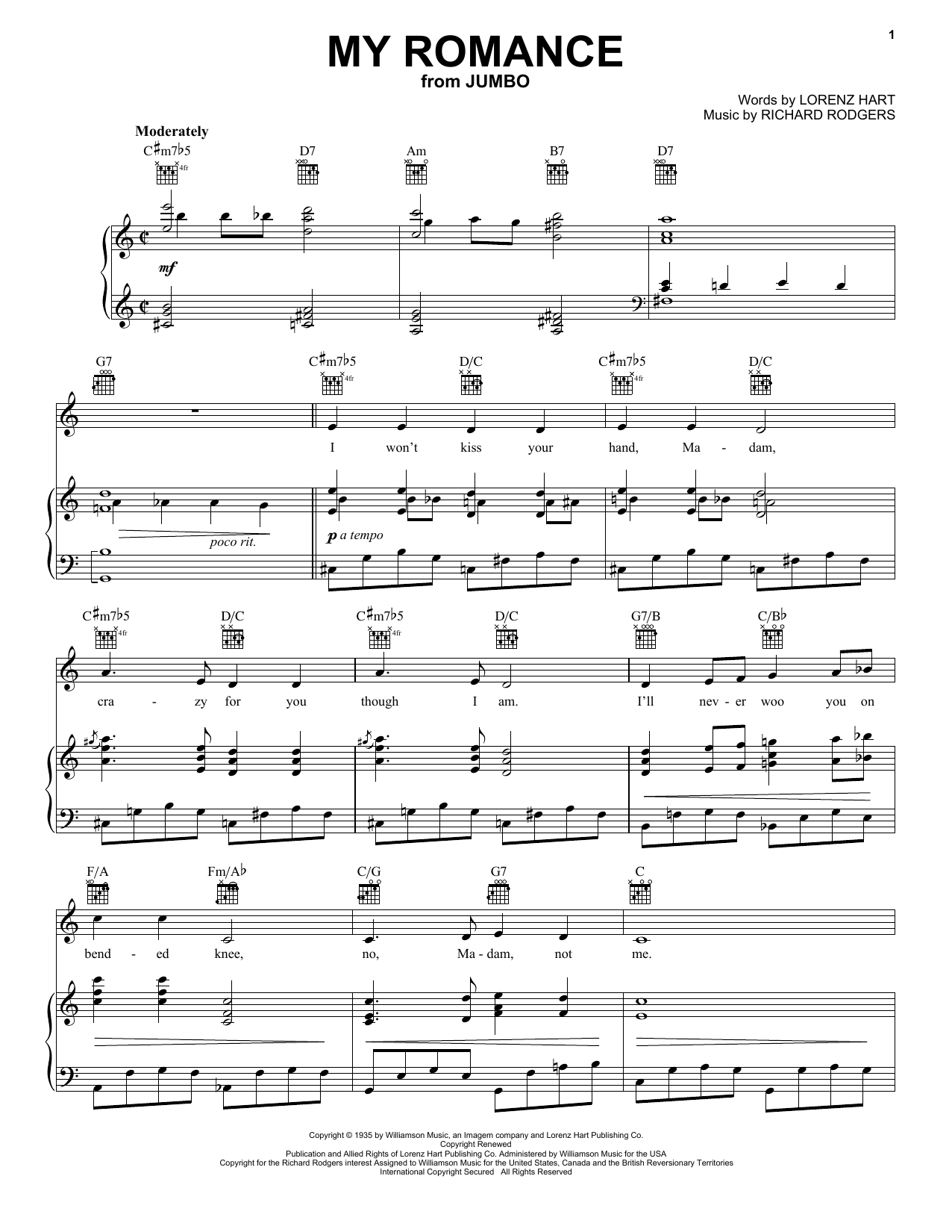 Rodgers & Hart My Romance sheet music notes and chords. Download Printable PDF.