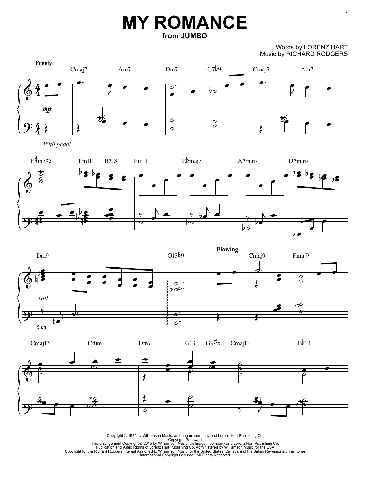 Rodgers & Hart My Romance [Jazz version] (arr. Brent Edstrom) sheet music notes and chords