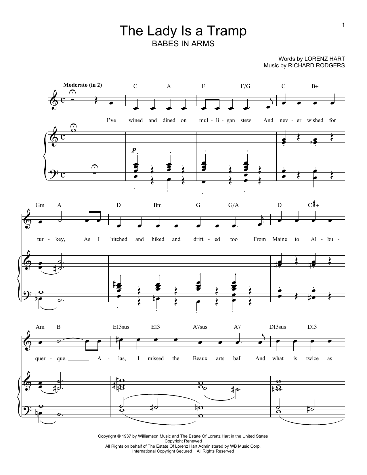 Rodgers & Hart The Lady Is A Tramp sheet music notes and chords. Download Printable PDF.