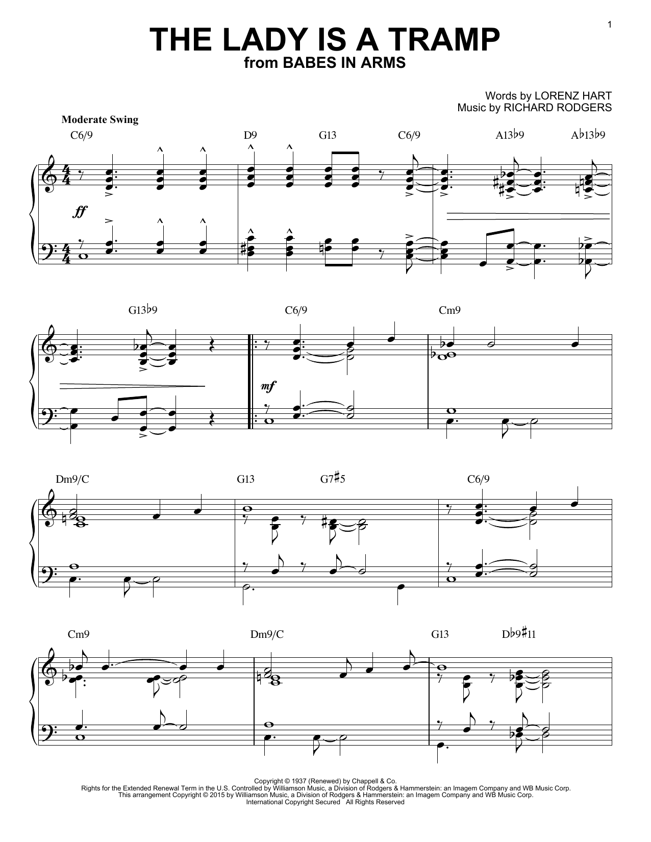 Rodgers & Hart The Lady Is A Tramp [Jazz version] (arr. Brent Edstrom) sheet music notes and chords. Download Printable PDF.