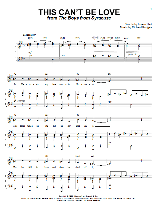 Rodgers & Hart This Can't Be Love sheet music notes and chords. Download Printable PDF.
