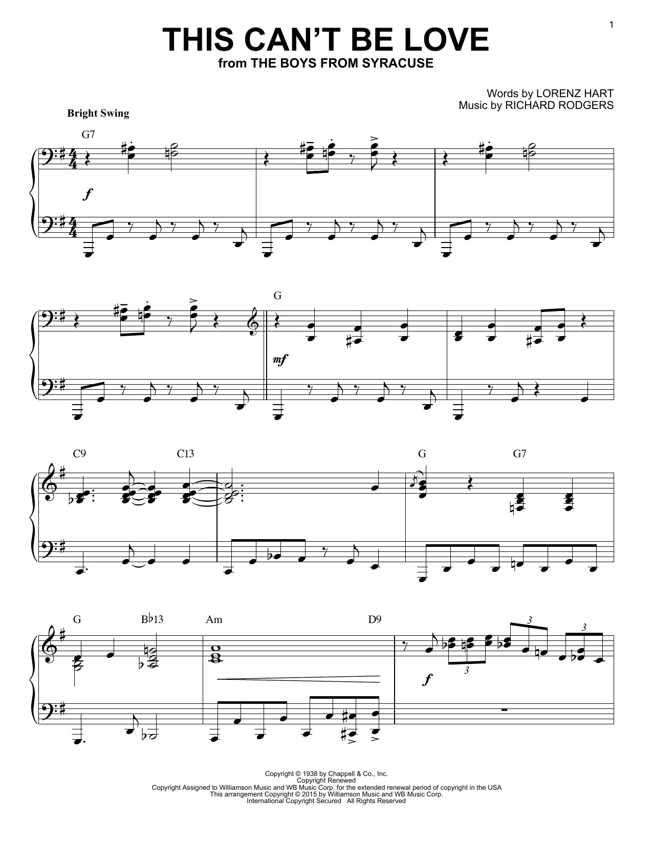 Rodgers & Hart This Can't Be Love [Jazz version] (arr. Brent Edstrom) sheet music notes and chords