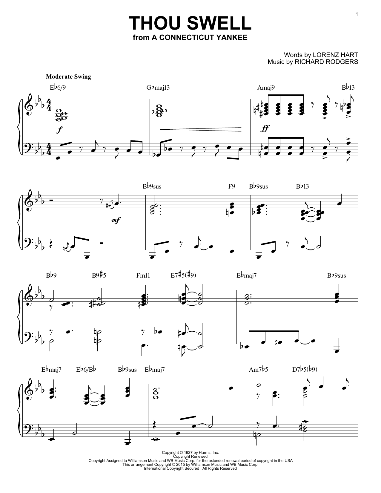Rodgers & Hart Thou Swell [Jazz version] (arr. Brent Edstrom) sheet music notes and chords. Download Printable PDF.