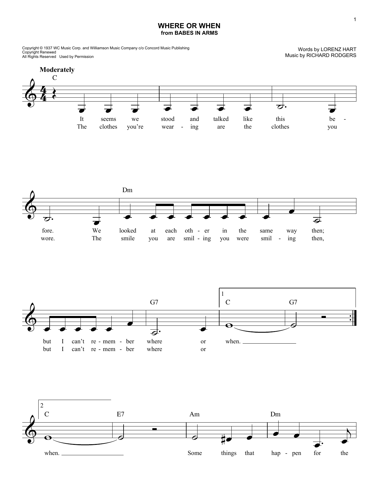Rodgers & Hart Where Or When (from Babes In Arms) sheet music notes and chords. Download Printable PDF.