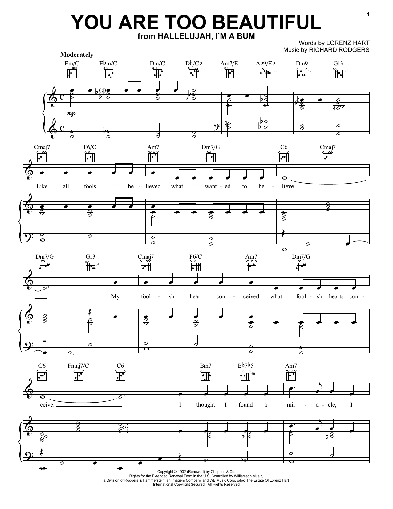 Rodgers & Hart You Are Too Beautiful sheet music notes and chords. Download Printable PDF.