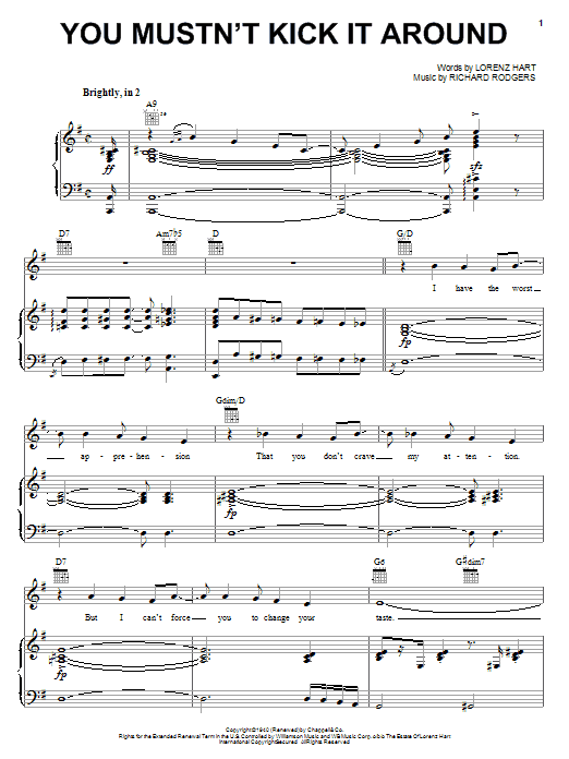 Rodgers & Hart You Mustn't Kick It Around sheet music notes and chords. Download Printable PDF.