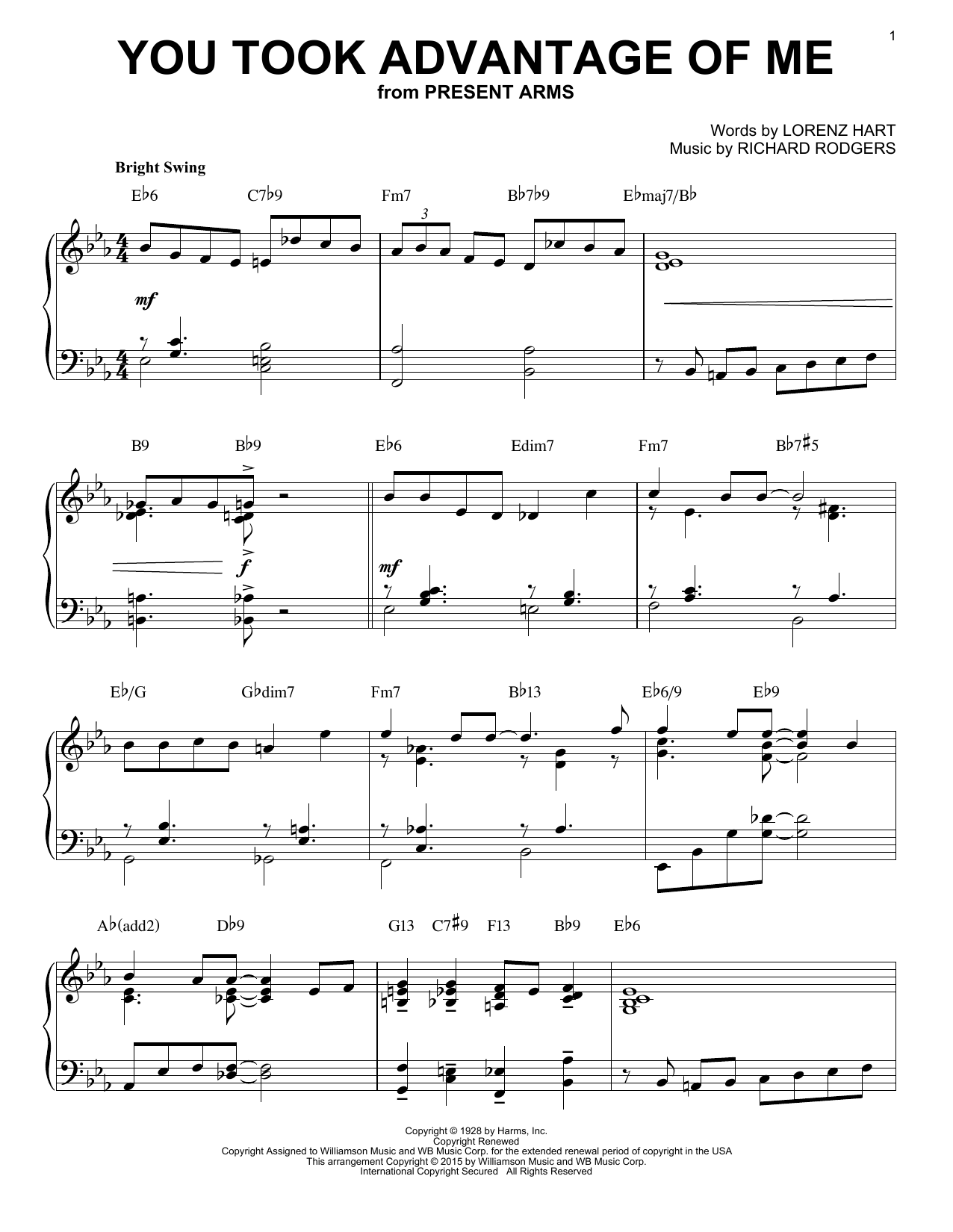 Rodgers & Hart You Took Advantage Of Me [Jazz version] (arr. Brent Edstrom) sheet music notes and chords