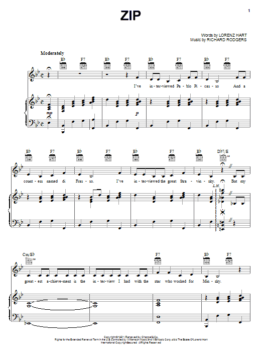 Rodgers & Hart Zip sheet music notes and chords. Download Printable PDF.