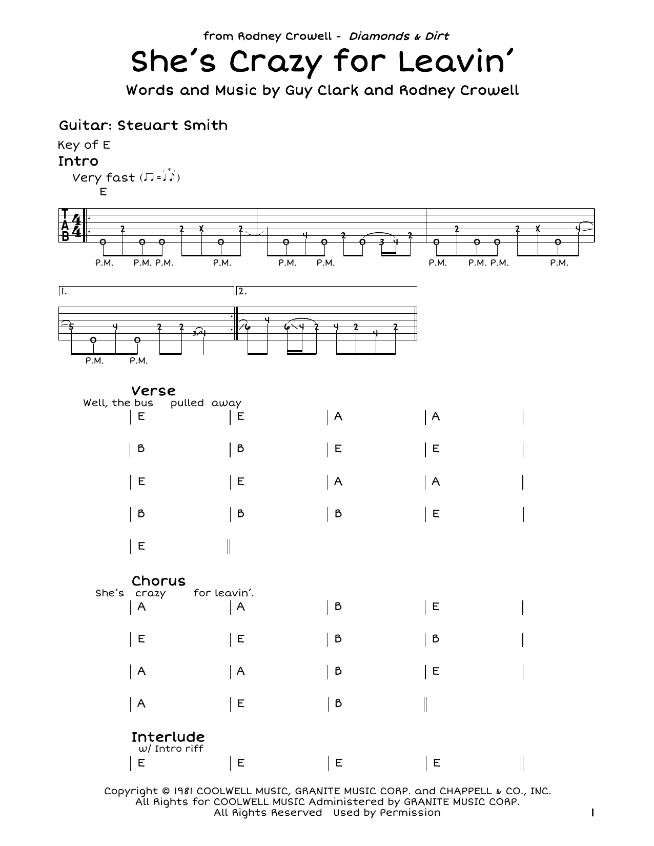 Rodney Crowell She's Crazy For Leavin' sheet music notes and chords. Download Printable PDF.
