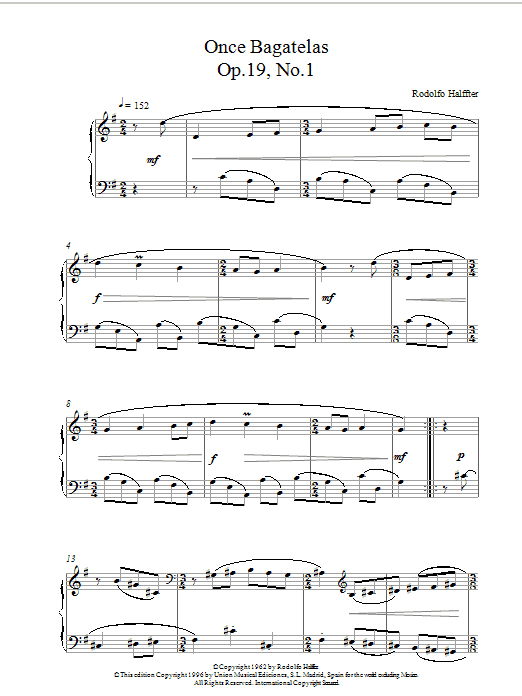 Halffter Once Bagatelas Op19 No1 sheet music notes and chords. Download Printable PDF.