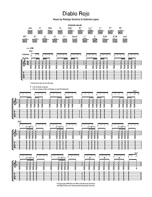 Rodrigo y Gabriela Diablo Rojo sheet music notes and chords. Download Printable PDF.