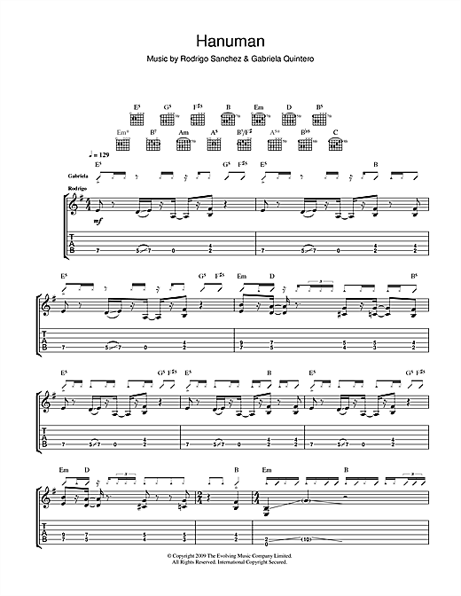 Rodrigo y Gabriela Hanuman sheet music notes and chords