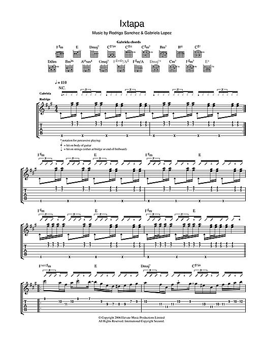 Rodrigo y Gabriela Ixtapa sheet music notes and chords. Download Printable PDF.