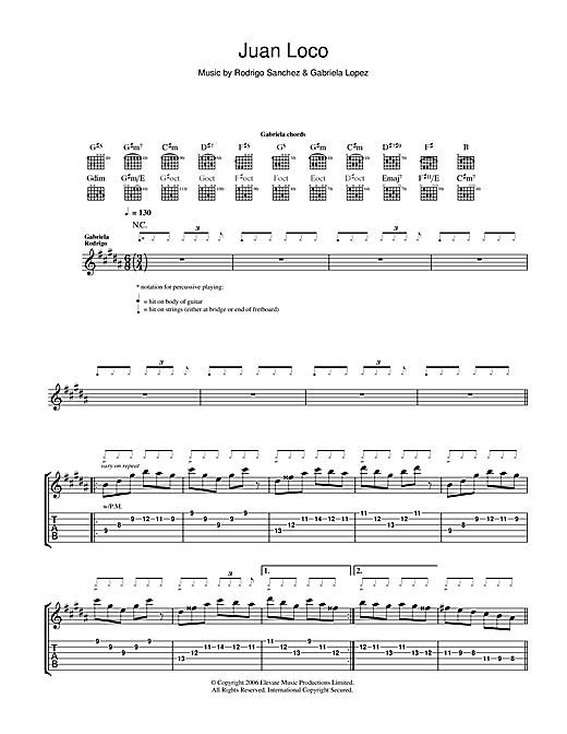 Rodrigo y Gabriela Juan Loco sheet music notes and chords
