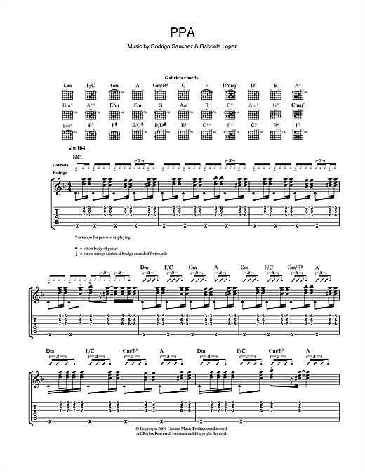 Rodrigo y Gabriela PPA sheet music notes and chords