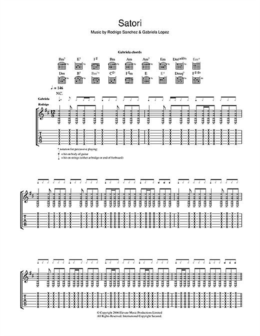 Rodrigo y Gabriela Satori sheet music notes and chords. Download Printable PDF.