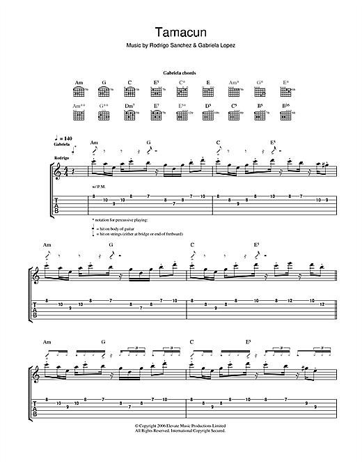 Rodrigo y Gabriela Tamacun sheet music notes and chords