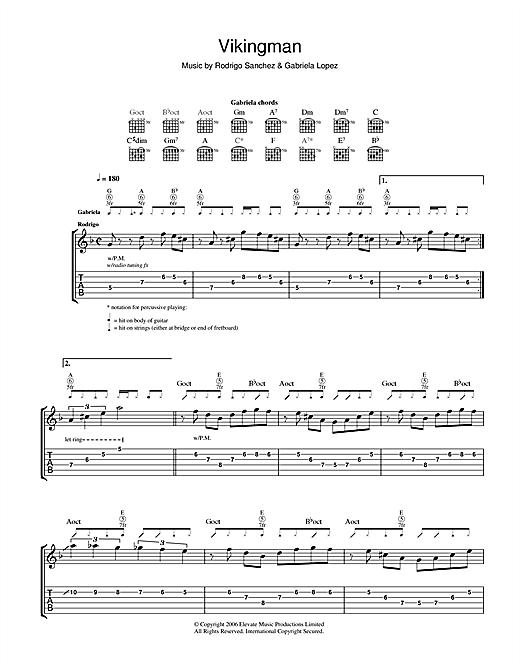 Rodrigo y Gabriela Vikingman sheet music notes and chords