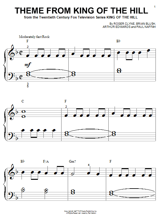 Roger Clyne Theme From King Of The Hill sheet music notes and chords. Download Printable PDF.