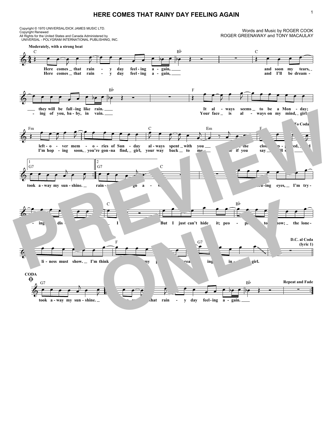Roger Cook Here Comes That Rainy Day Feeling Again sheet music notes and chords. Download Printable PDF.