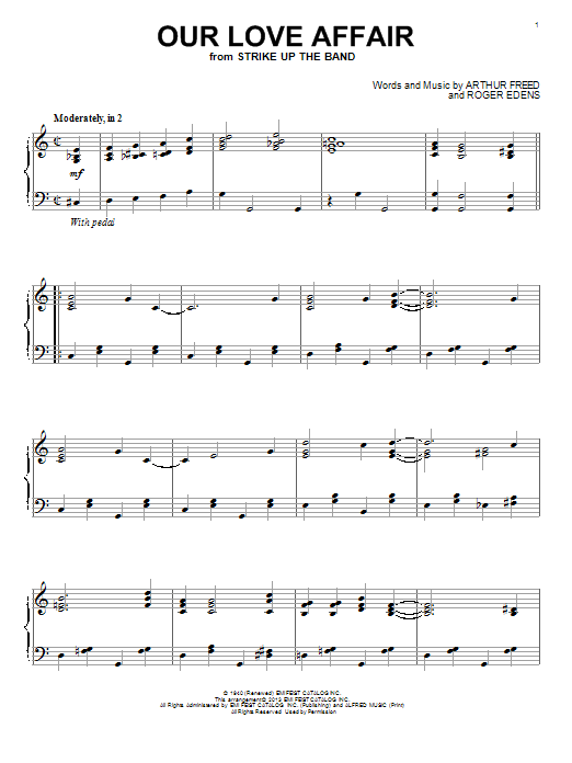 Roger Edens Our Love Affair sheet music notes and chords. Download Printable PDF.