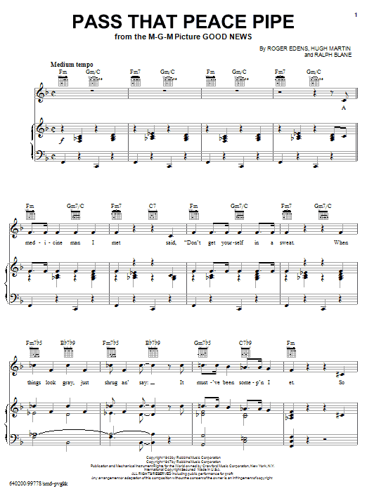 Roger Edens Pass That Peace Pipe sheet music notes and chords. Download Printable PDF.