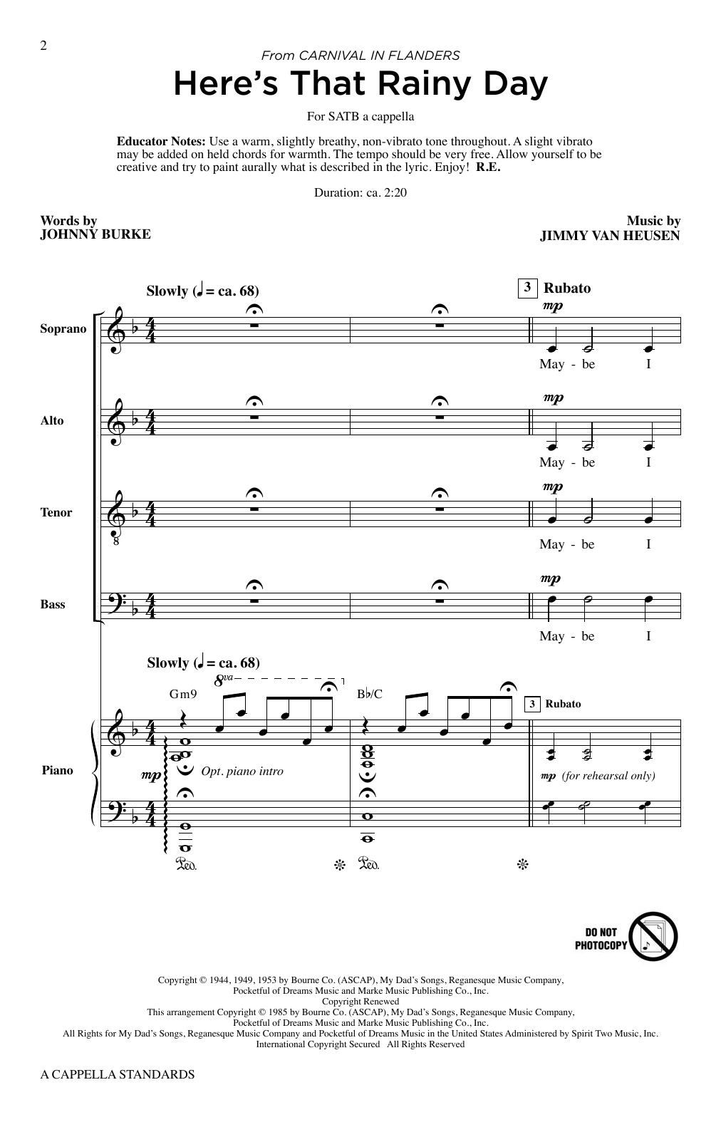 Roger Emerson A Cappella Standards sheet music notes and chords