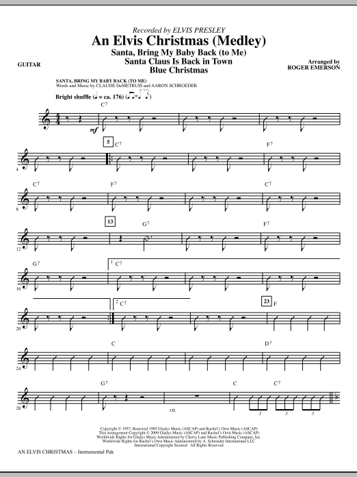 Roger Emerson An Elvis Christmas (Medley) - Guitar sheet music notes and chords. Download Printable PDF.