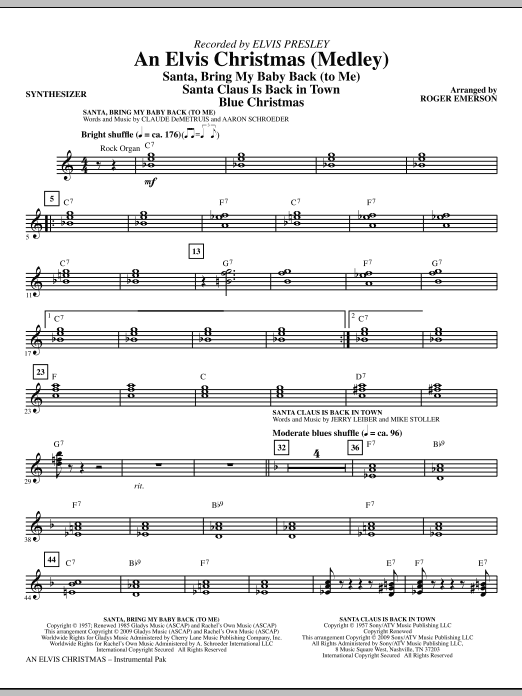 Roger Emerson An Elvis Christmas (Medley) - Synthesizer sheet music notes and chords. Download Printable PDF.
