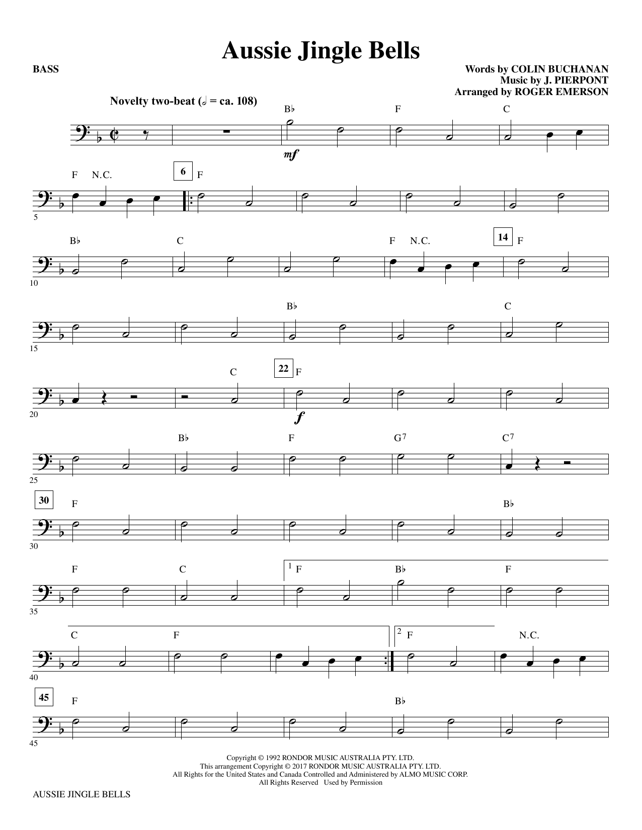 Roger Emerson Aussie Jingle Bells - Bass sheet music notes and chords. Download Printable PDF.