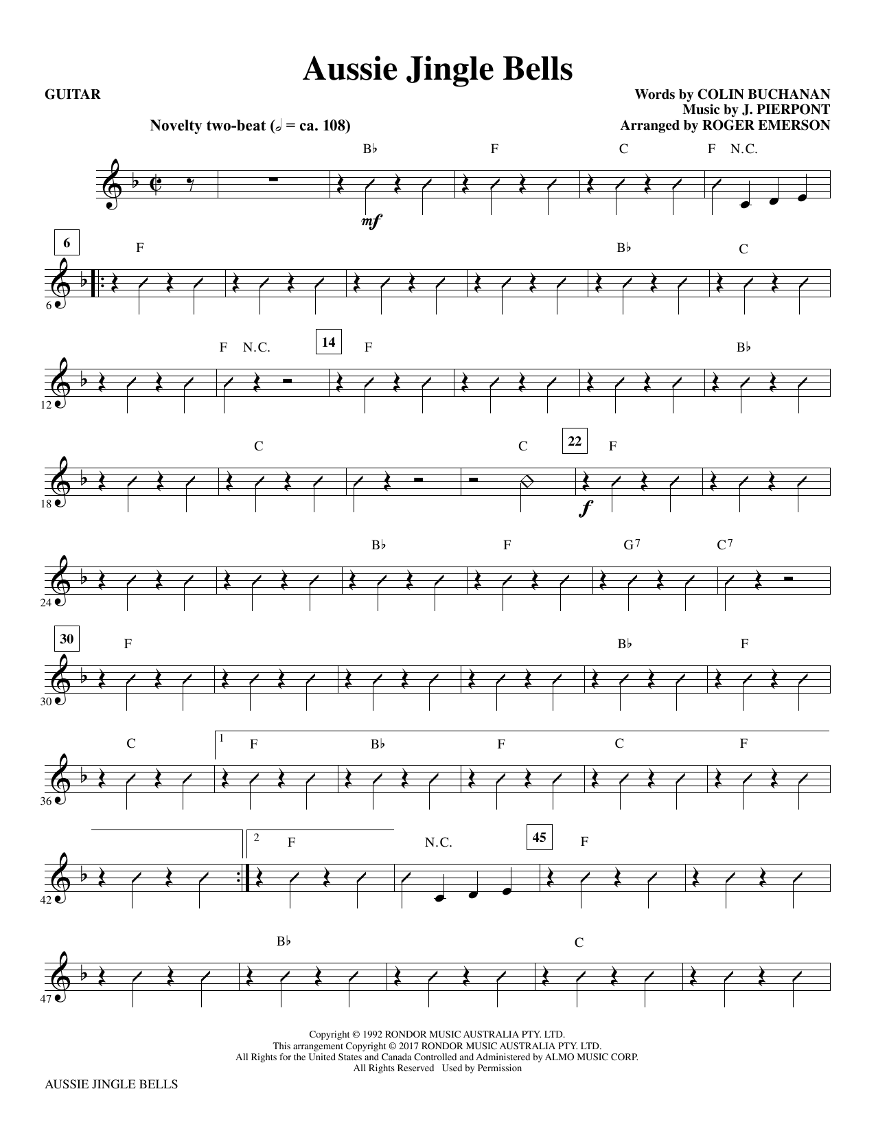 Roger Emerson Aussie Jingle Bells - Guitar sheet music notes and chords. Download Printable PDF.