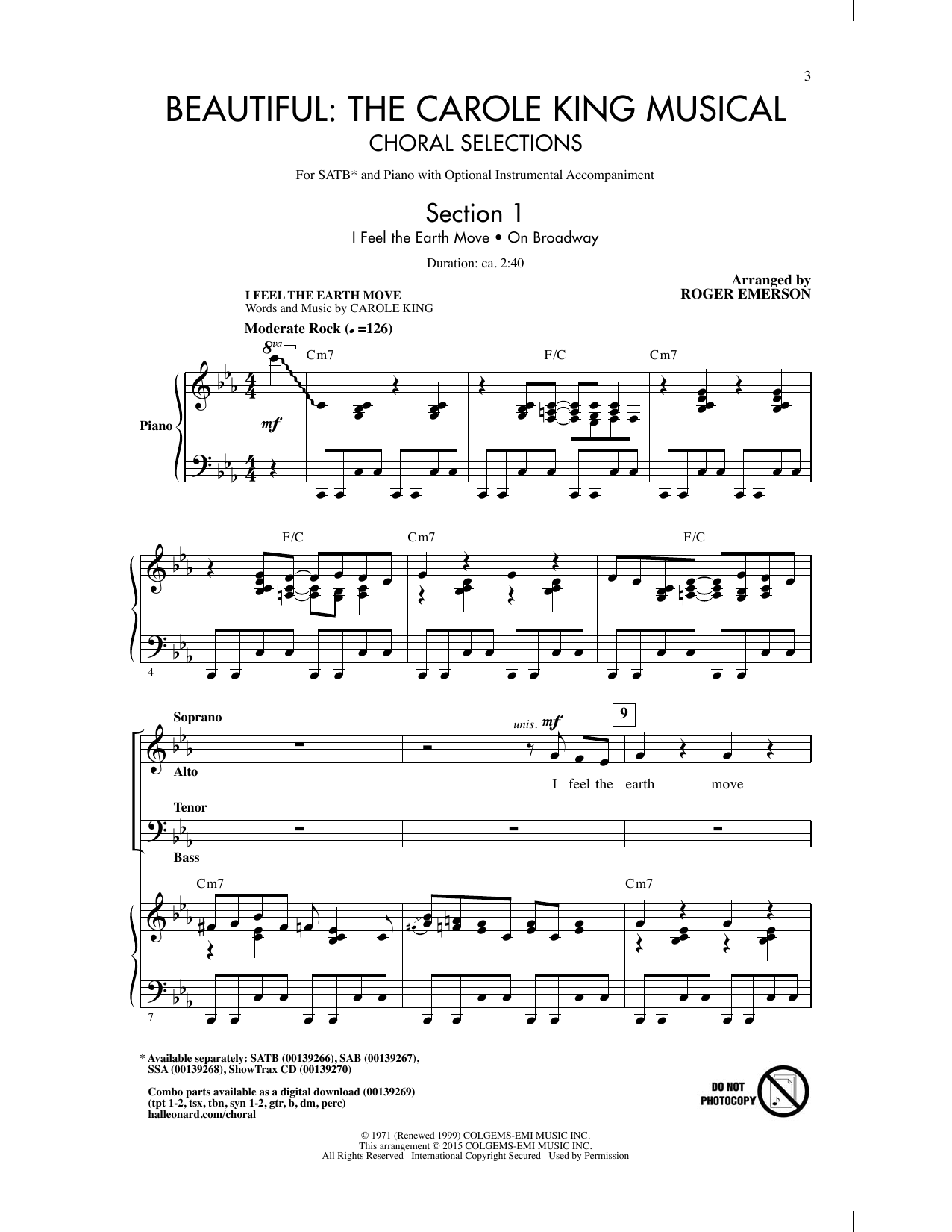 Roger Emerson Beautiful: The Carole King Musical (Choral Selections) (arr. Roger Emerson) sheet music notes and chords
