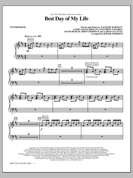Roger Emerson Best Day of My Life - Synthesizer sheet music notes and chords. Download Printable PDF.