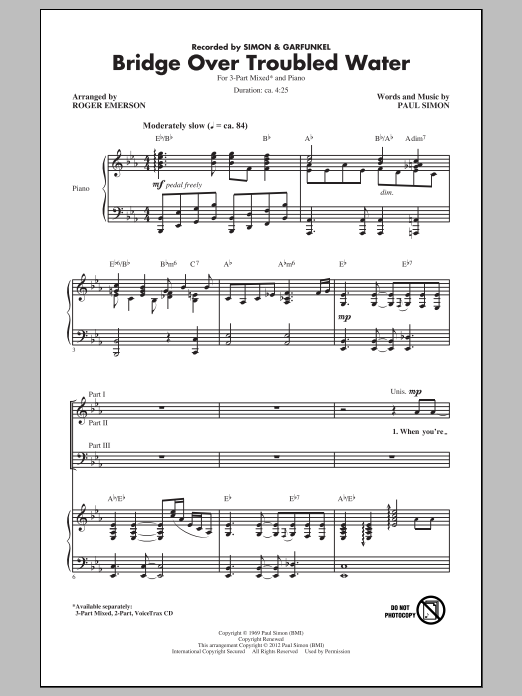 Roger Emerson Bridge Over Troubled Water (arr. Roger Emerson) sheet music notes and chords. Download Printable PDF.