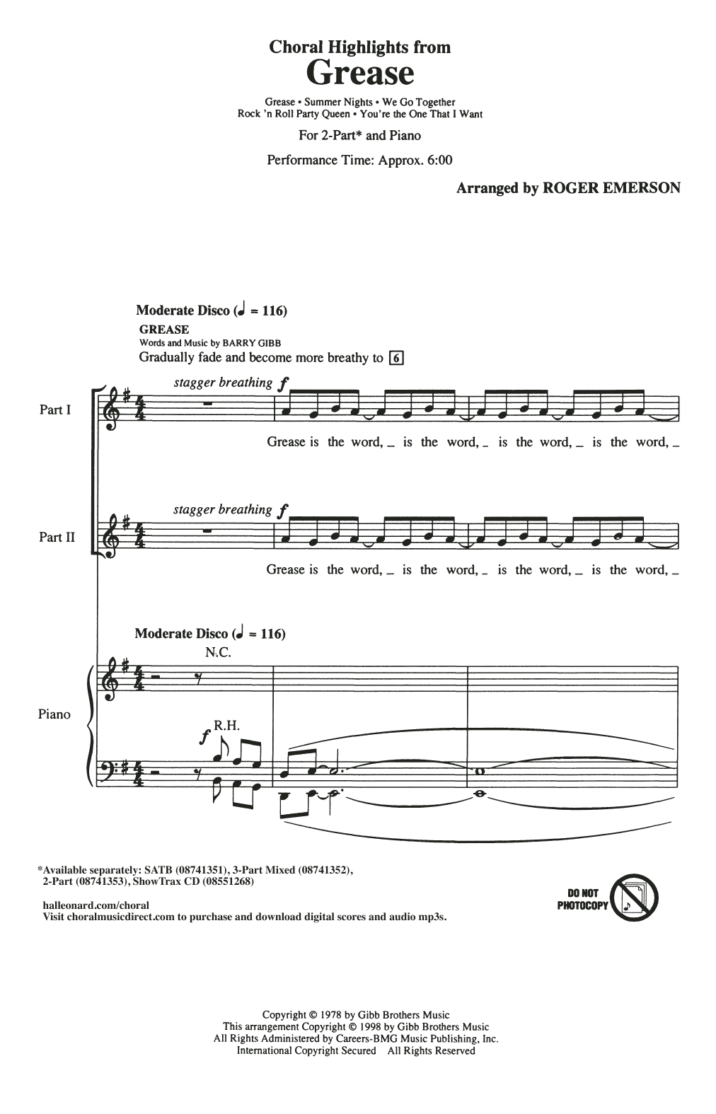Roger Emerson Choral Highlights from Grease sheet music notes and chords. Download Printable PDF.