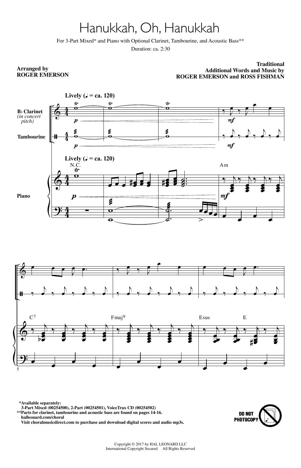 Roger Emerson Hanukkah, Oh, Hanukkah sheet music notes and chords. Download Printable PDF.