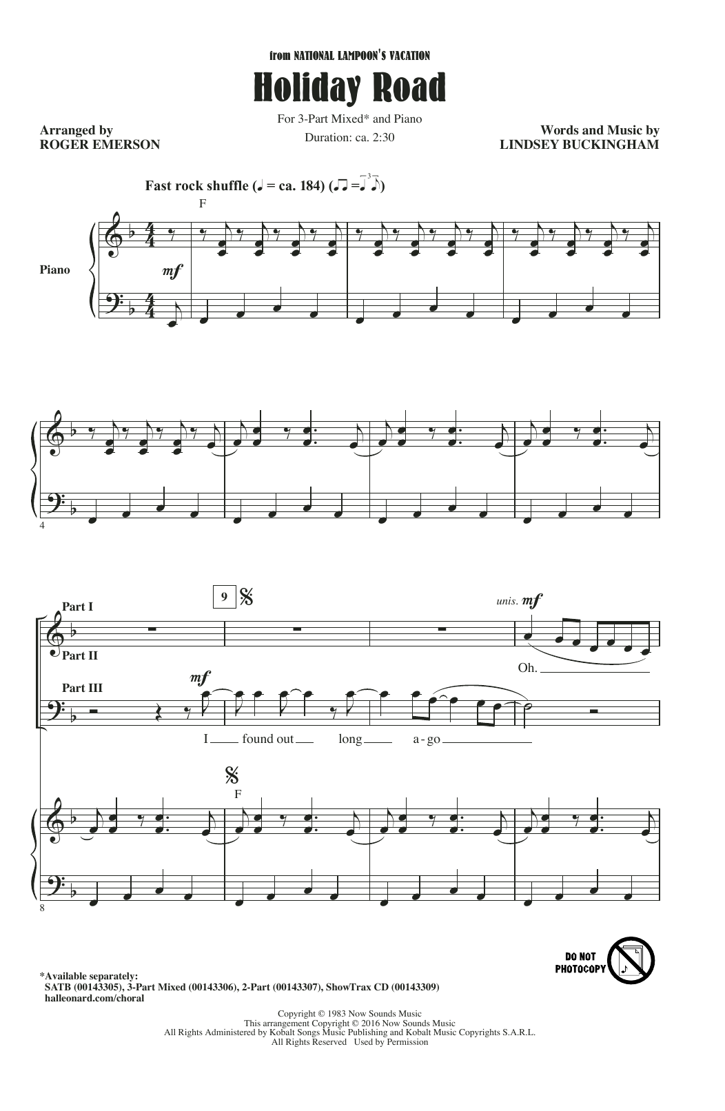Lindsey Buckingham Holiday Road (arr. Roger Emerson) sheet music notes and chords. Download Printable PDF.