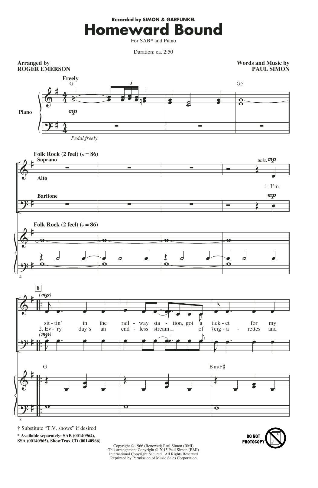 Roger Emerson Homeward Bound Sheet Music Notes, Chords   Download Printable  SAB Choir PDF Score   SKU 15