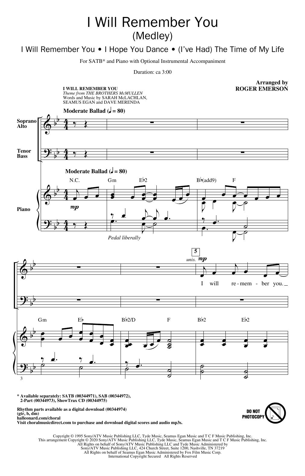 Roger Emerson I Will Remember You (Medley) sheet music notes and chords. Download Printable PDF.