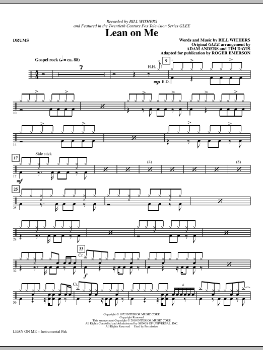 Roger Emerson Lean On Me - Drums sheet music notes and chords. Download Printable PDF.