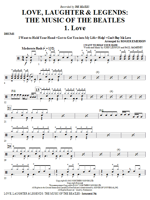 Roger Emerson Love, Laughter & Legends - Drums sheet music notes and chords. Download Printable PDF.
