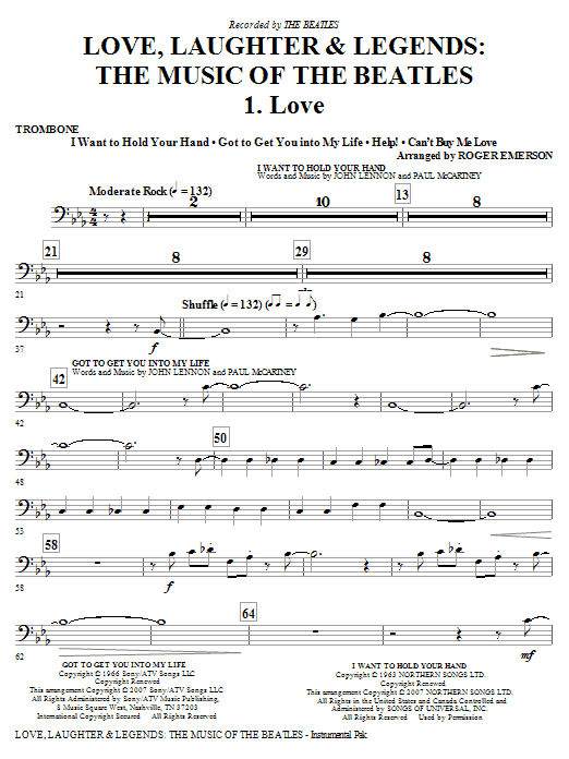Roger Emerson Love, Laughter & Legends - Trombone sheet music notes and chords. Download Printable PDF.